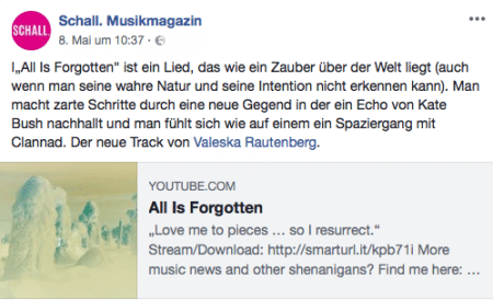 Schall Musikmagazin Valeska Rautenberg All Is Forgotten