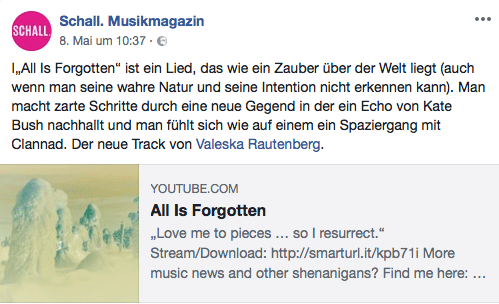 Schall Musikmagazin Valeska Rautenberg All Is Forgotten